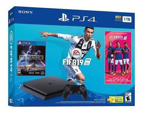 Consola Ps4 Slim 1tb Hdr Negro Fifa 19+pack Ultimate Team