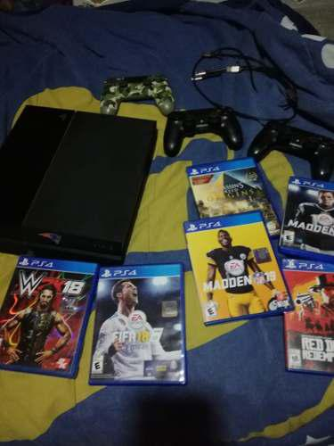 Ps4 Play Station 4 Con 6 Juegos Y 3 Controles Todo Funcional