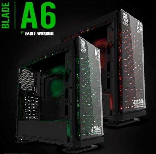 Gabinete Warrior Gaming A6 Verde/rojo Sin Fuente