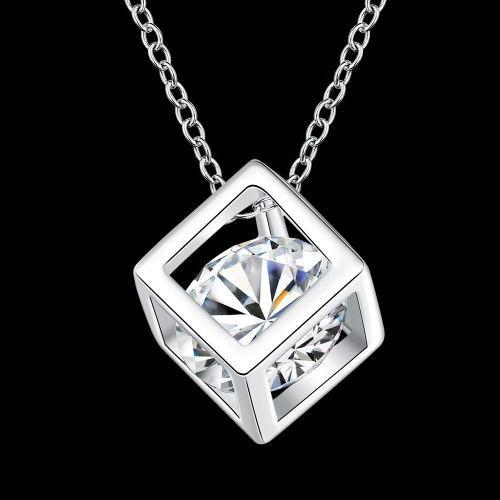 Bello Collar Cubo Diamante Plata 925 Cristal Swarovski Amor