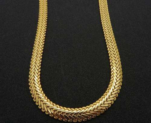 Cadena Collar Tejido Espiga 45cm En Oro Solido De 14 K