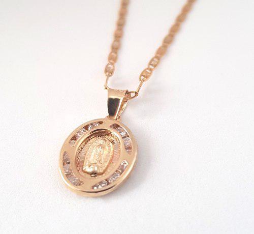 Cadena Con Medalla Virgen Bautizo Oro 10k - Envio Gratis