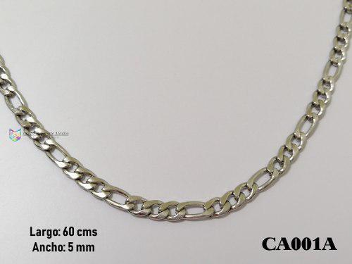 Cadena Tejido 60cms 5mm Acero Inoxidable Plateado