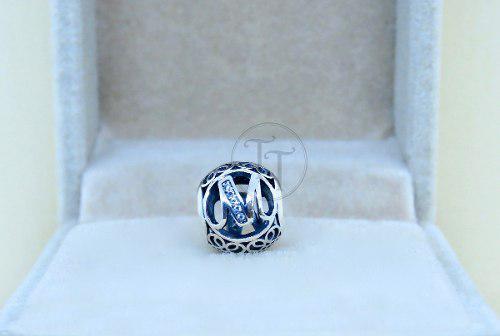 Charm Letra M Plata Esterlina 925 Zirconias Corte Diamante