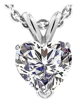 Colgante De Diamante Corazon De 100 Pts. Y Cadena De Oro 14k