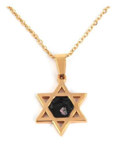 Collar Acero Dorado Estrella 6 Picos David Símbolo