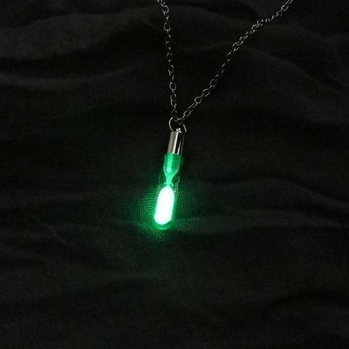 Collar Cadena Dije Reloj Tiempo Brilla Oscuridad Regalo Novi