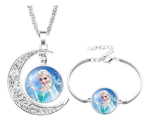 Collar Con Dije + Pulsera Princesas Disney Frozen Ariel Y +
