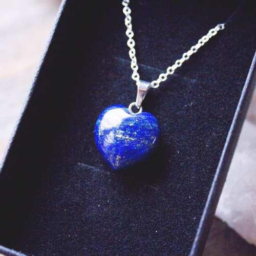 Collar Corazón Auténtico Cuarzo Lapislázuli + Cadena