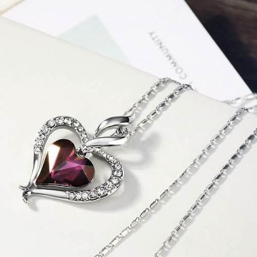 Collar Corazón Móvil Platinado Swarovski Elements Envío