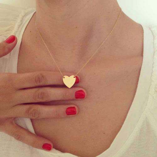 Collar Corazon Simple En Color Dorado Buen Precio Mayoreo