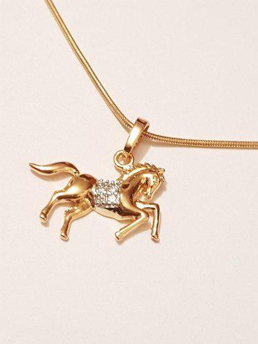 Collar De Caballo Oro Lam Y Cristales De 2 Cm Envio Gratis1