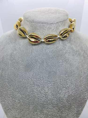 Collar De Caracol En Chapa De Oro 14k Bisutería + Envio