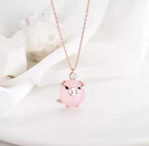 Collar De Cerdito 2019 Moda Mini Pig Kawaii Chapado En Oro