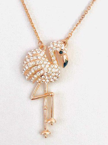 Collar De Flamingo En Oro Rosa Laminadoy Cristal Swarovski.