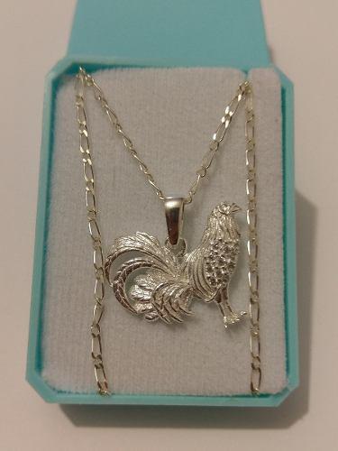 Collar De Gallo 2.8 Cm De Plata Y Cristales Envio Gratis