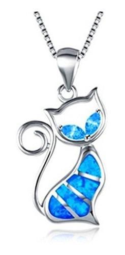 Collar De Gato Azul Opal Cpl06 Estuche Y Envio Gratis