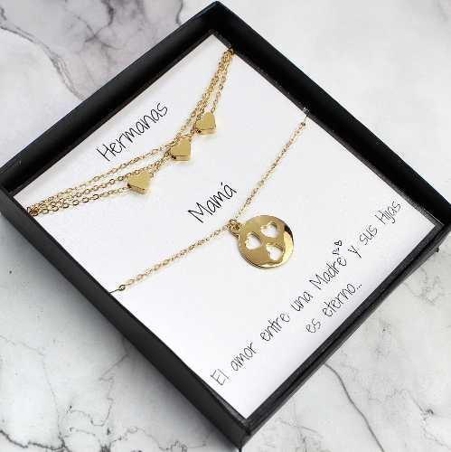 Collar De Madre E Hija Regalo Para 3 Hijas Chapa De Oro 22k
