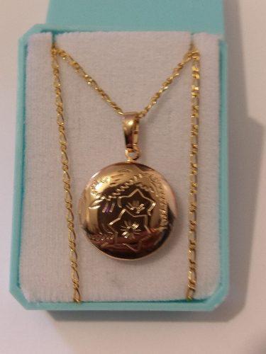 Collar De Oro Laminado Con Dije De Portaretrato Redondo 2cm