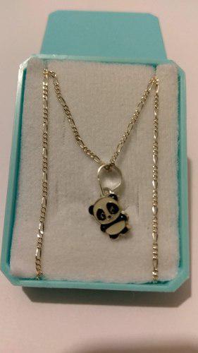 Collar De Oso Panda De Plata 925 Con Estuche Y Envio Gratis