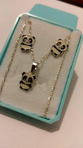 Collar De Oso Panda Y Aretes De Plata 925 Y Envio Gratis