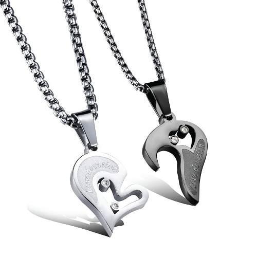 Collar De Parejas Amor Devoto Titanio 2 Piezas Envío Gratis
