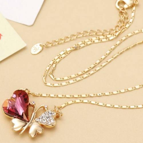 Collar Del Amor Y Amistad En Oro Lam.18k Mariposa Swarovski.