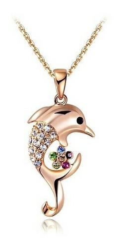 Collar Delfin Oro Rosa Swarovski + Estuche De Regalo