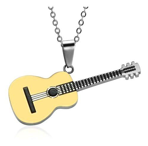 Collar Dije Guitarra Acustica Musica Unisex Acero Inoxidable