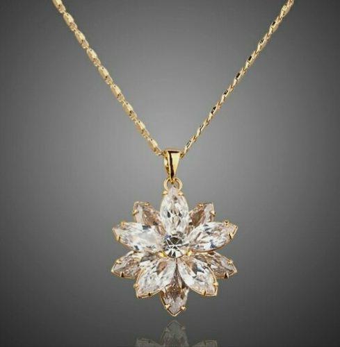 Collar Flor Cristal Swarovski Elements Oro Lam 24kgp Envío