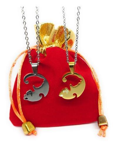 Collar Gatos Ying Yang Amistad Parejas Dorado Compartir