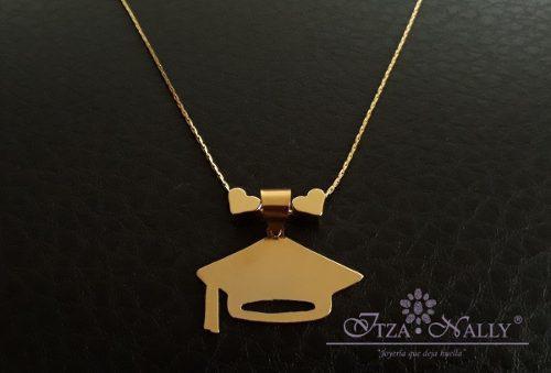 Collar Graduación Birrete En Chapa De Oro