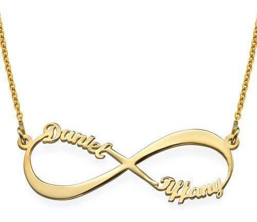 Collar Infinito Con Nombres En Oro Amarillo De 14k