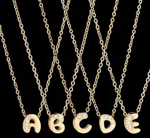 Collar Letra Inicial Abecedario Dorado [acero Inoxidable]