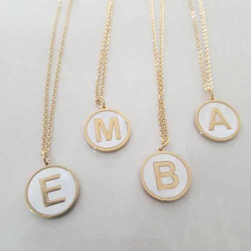 Collar Letra Inicial Madre Perla Dije Acero Inoxidable Msi