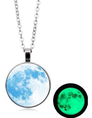 Collar Luna Llena Brilla En La Oscuridad Mujer Moda Regalo