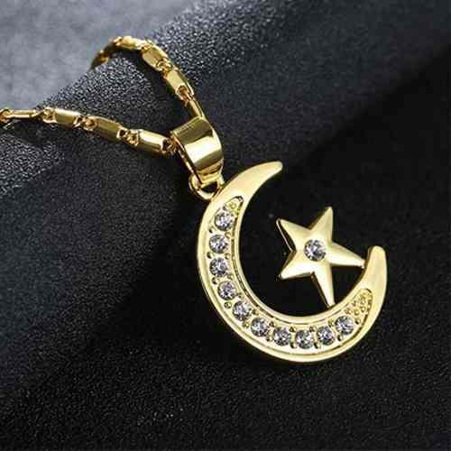 Collar Luna Y Estrellas Oro Lam Y Zirconias Envío Gratis.