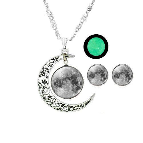 Collar Media Luna Brilla Oscuridad + Aretes Mujer Novedad