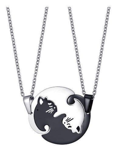 Collar Pareja Gatos Amor Yin Yang Acero Inoxidable Premium