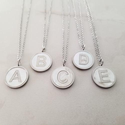 Collar Plata Letra Inicial Madre Perla Dije Acero Inoxidable