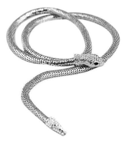 Collar Serpiente Plateada Con Imán Diseño Exclusivo N-289
