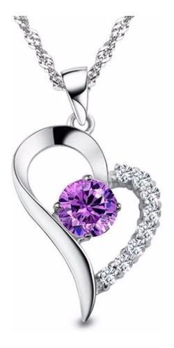 Collar Y Dije Corazón Plata.925 Zirconia Regalo Aniversario
