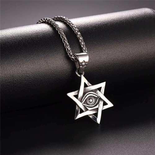 Dije Collar Estrella De David,ojo Turco,acero Inoxidable,