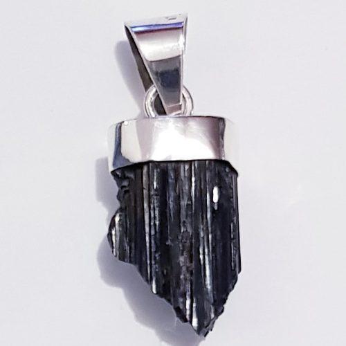 Dije Collar Turmalina Negra Cuarzo Natural En Plata 0.925