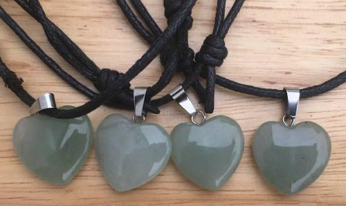 Dije Corazón Aventurina Verde Natural Collar Nudo Corredizo