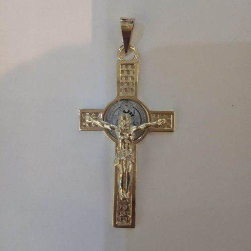 Dije Cruz De San Benito En Oro 14k 4.5cm Solido Amarillo