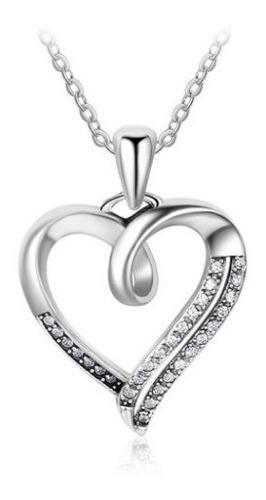 Fino Collar De Corazon Plata Ley.925 Swarovski Novia Amor