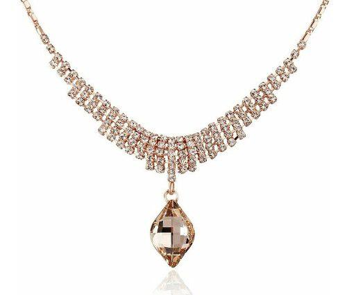 Gargantilla Swarovski Elements Cert, Oro Rosa 18kgp, Envío