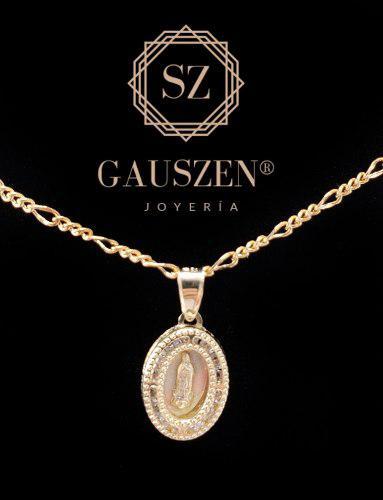 Hermosa Medalla Virgen De Guadalupe Bautizo Oro 10k Y Cadena