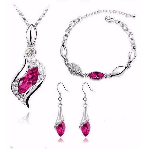 Hermoso Set Rosa Cristales Collar Dije Aretes Pulsera Caja